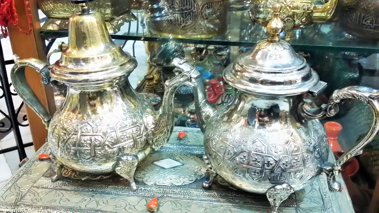 Tangier, Morocco Travel Guide: Find your Moroccan tea set in the Medina, on one of the many, narrow alleys filled with antiques. This is the perfect souvenir and reminder of your timing sipping delicious mint tea.